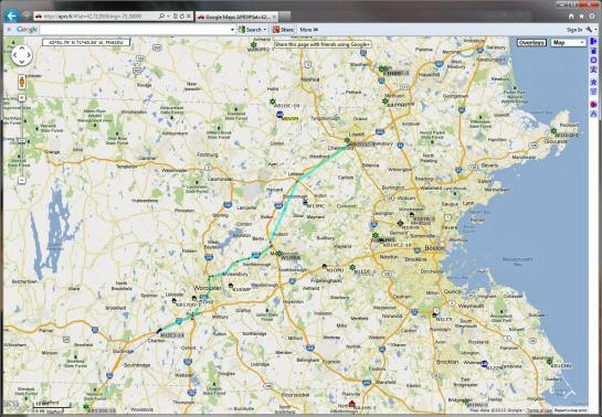 APRS fi Route Display