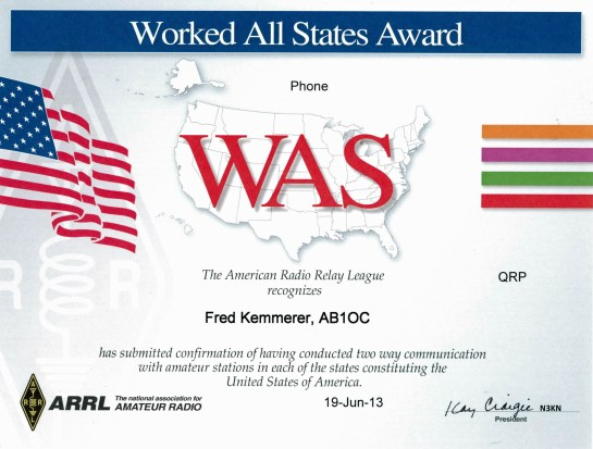 Worked All States Award - QRP