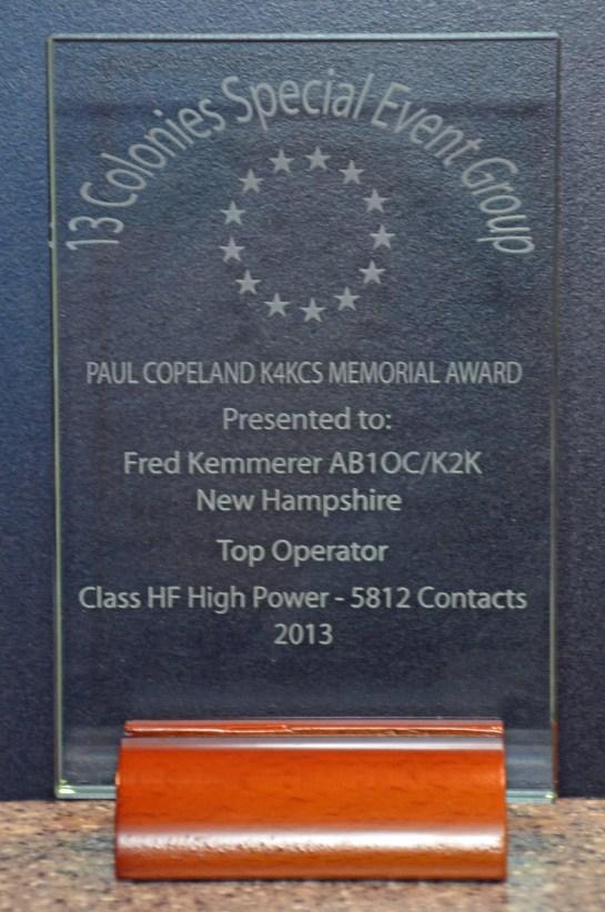 2013 Thirteen Colonies Top Operator Award