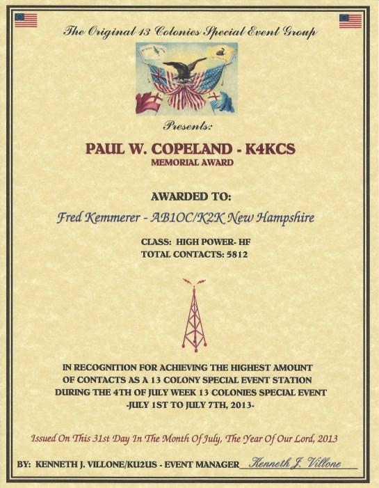 2013 Thirteen Colonies Top Operator Certificate