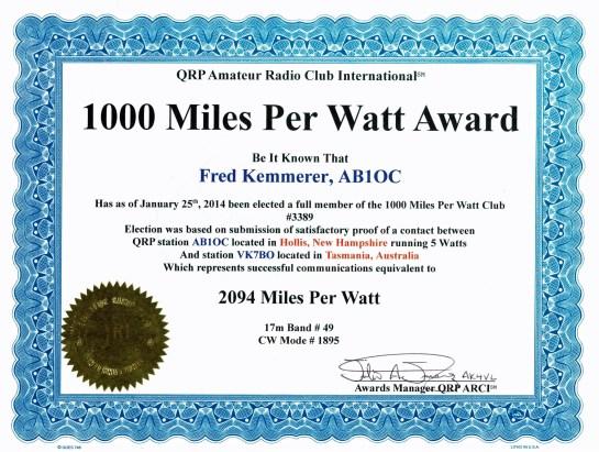 1,000 Mile Per Watt Award