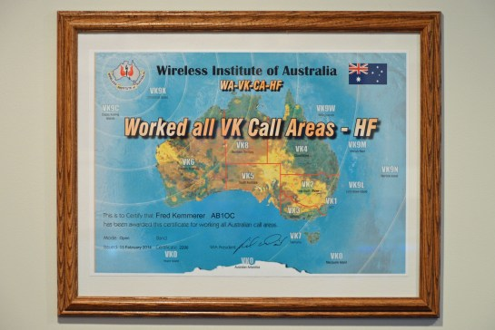 AB1OC Worked All VK Call Areas Award