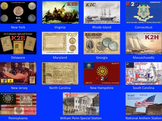 Thirteen Colonies Special Event QSL Cards