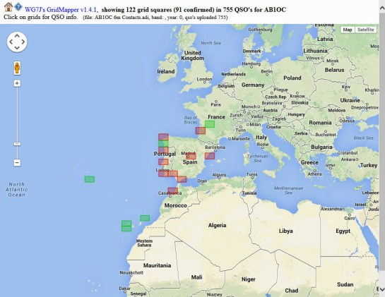 AB1OC Worked Grids In Europe And Africa