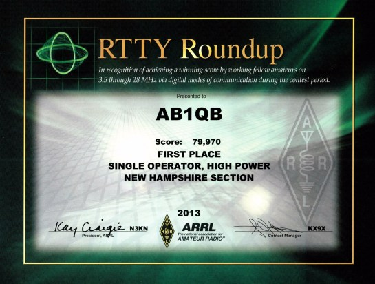 AB1QB 2013 ARRL RTTY  Roundup Certificate