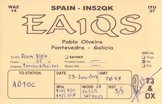 First Satelllite Contact - EA1QS In Spain