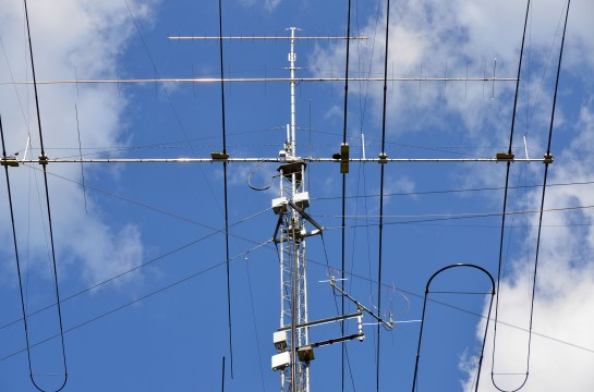 M2 Antenna Systems 70cm and 2m Yagis On Top Of Our Tower