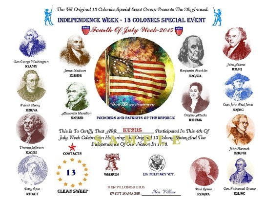 2015 13 Colonies Special Event Certificate