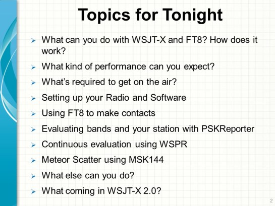 Topics Cover During WSJT-X Tech Night