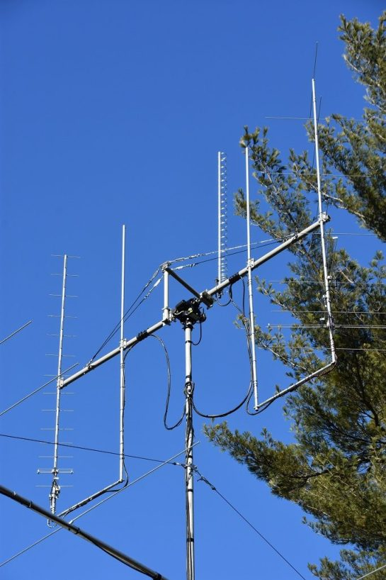 Satellite Antennas Installed On Top Of Mast