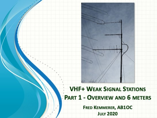 Tech Night - VHF+ Weak Signal Stations Part 1 - Overview and 6 Meters