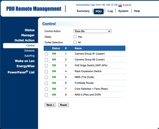 PDU Web Interface for Network Control and Management