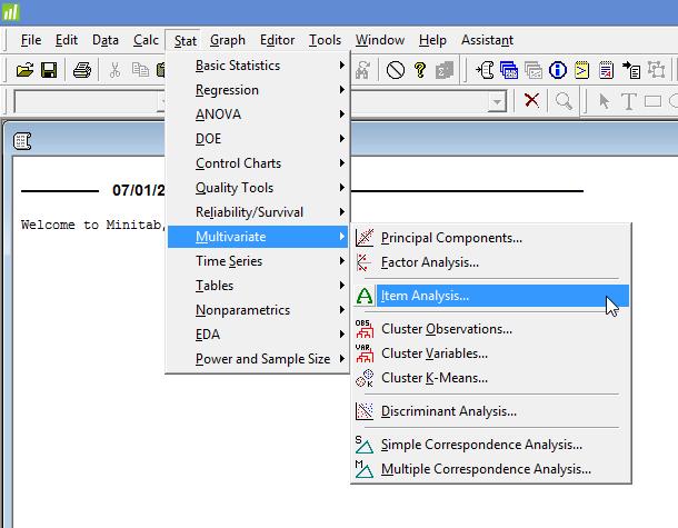 Main menu for a Cronbach's alpha in Minitab