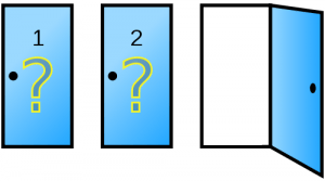 Picture of three doors. One is open and does not have the prize.