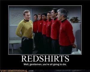 Star Trek meme that shows doomed red-shirts.