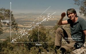 Brian Cox showing a log-log plot.