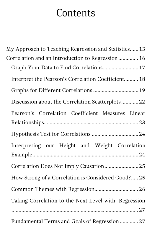 Table of contents page 1 for Regression Analysis: An Intuitive Guide.