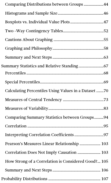 Image of page two for the table of contents for Introduction to Statistics: An Intuitive Guide.