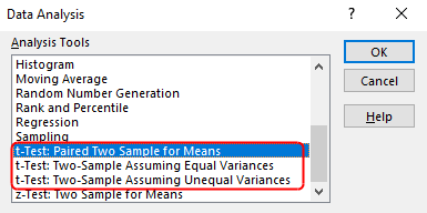 Excel's popup to choose data analysis procedure.