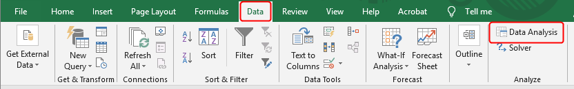 Excel menu with Data Analysis ToolPak.