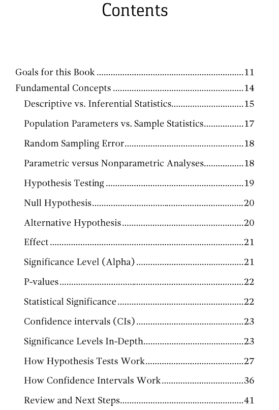 Table of contents page 1 for hypothesis testing ebook.