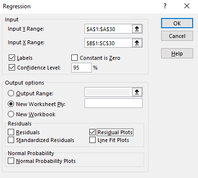 How to fill in Excel's regression box.