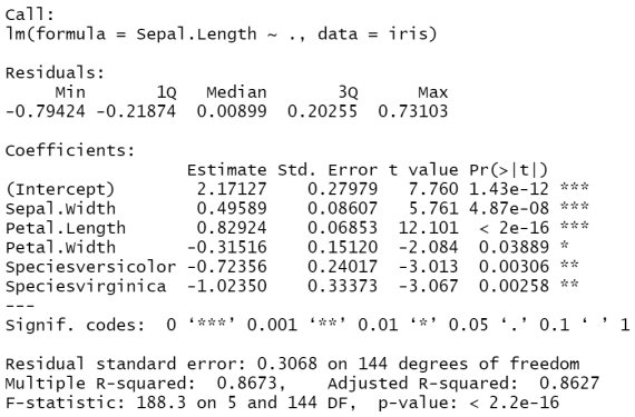 Linear regression output from the R programming language.