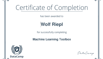 Certificate: R Machine Learning Toolbox