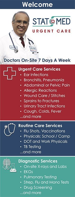 List of Emergency care, routine medical care, and diagnostic services provided by STAT MED Urgent Care