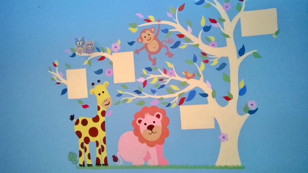Camerette per bambini. Pareti colorate. Disegni su pareti.