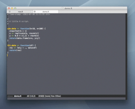 A short intro to Emacs+ESS on Vimeo