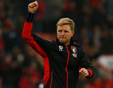 "Britain Football Soccer - AFC Bournemouth v West Ham United - Premier League - Vitality Stadium - 11/3/17 Bournemouth manager Eddie Howe celebrates after the game  Action Images via Reuters / Peter Cziborra Livepic EDITORIAL USE ONLY. No use with unauthorized audio, video, data, fixture lists, club/league logos or ""live"" services. Online in-match use limited to 45 images, no video emulation. No use in betting, games or single club/league/player publications.  Please contact your account representative for further details."