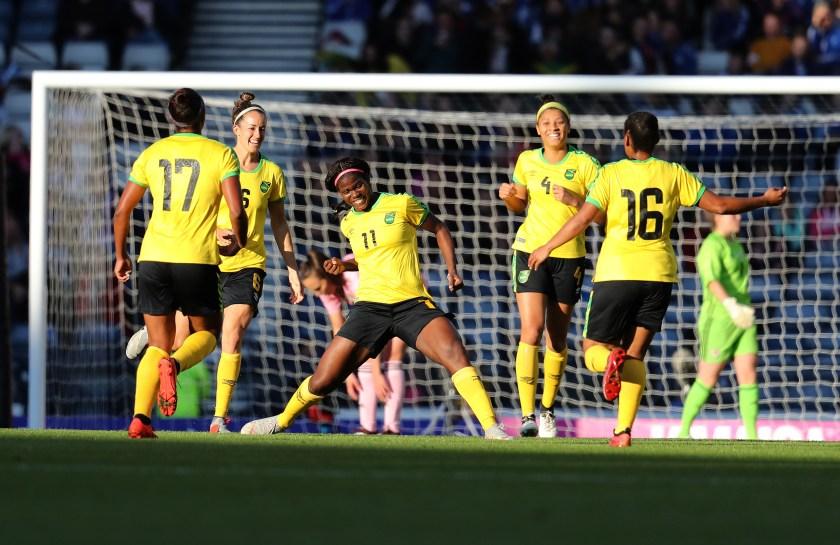 Jamaica women's national team celebrate a goal against Scotland