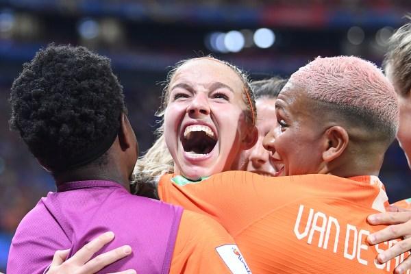 Netherlands midfielder Jackie Groenen celebrates after scoring in the World Cup