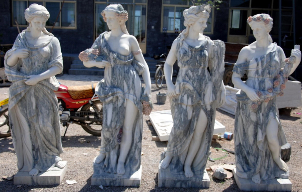 Four Seasons Statues Marble Four Seasons Sculpture  Italian Marble Sculpture  Hand Carved Marble
