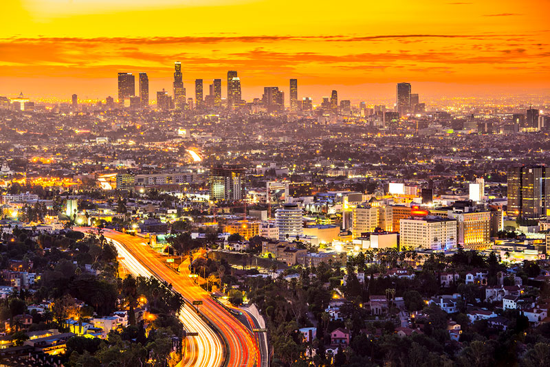 Los Angeles, California sunset.