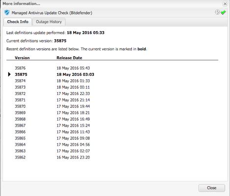 managed antivirus update check