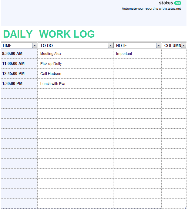 daily work template