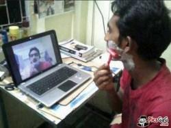 Gambar lucu cukuran pake webcam