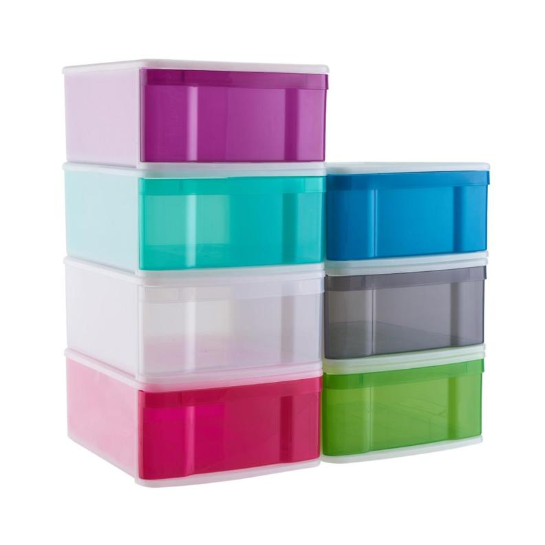 Large Tint Stackable Storage Drawer Cases of 4