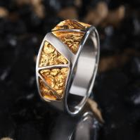 Stauer Gold Nugget Mens Ring w7589