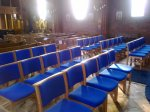 Mixture of pews and chairs