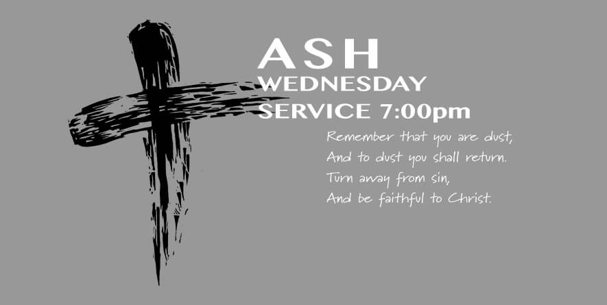 Ash Wednesday Service on March 1st at St. Augustine's