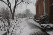 After the service: the first snow of the new year.