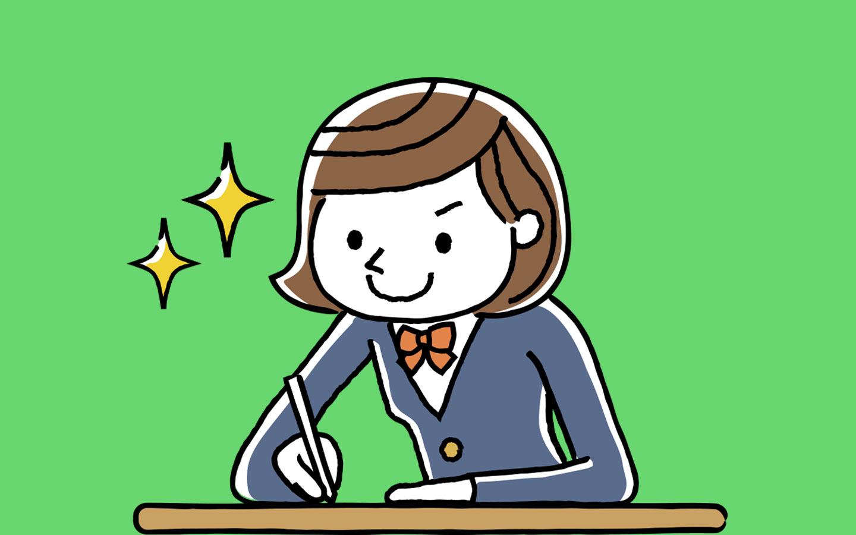 Illustration of girl doing well in an exam