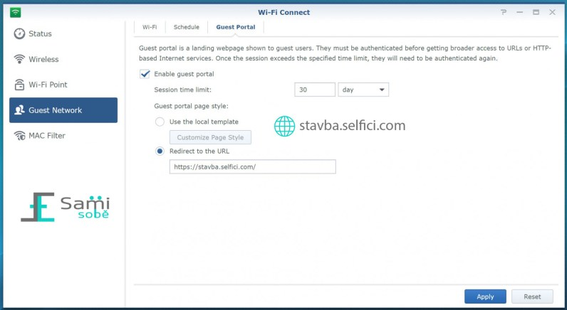 Nastavení portálu pro hosty na Synology RT2600ac