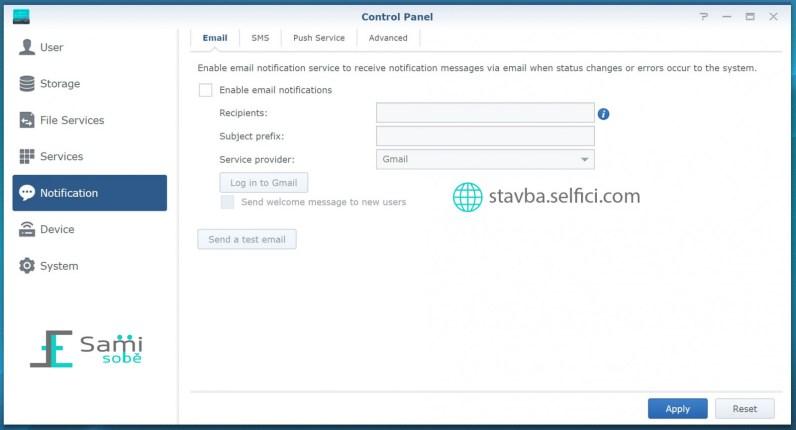 Nastavení notifikací v routeru Synology RT2600ac