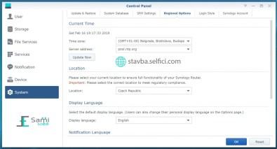 Regionální nastavení routeru Synology RT2600ac