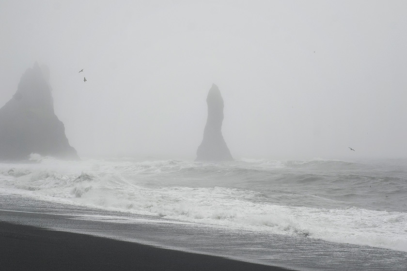 Basalt columns in the ocean