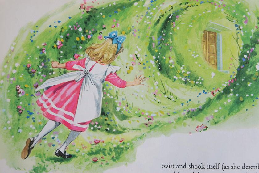 Illustration of Alice in garden